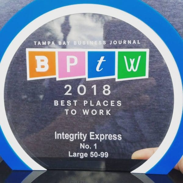 Integrity Named to the Tampa Bay Journal 2018 Best Places To Work List